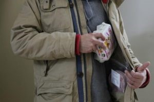 Mock up of a man stealing food.  Photograph by Colin Mearns 8 October 2012