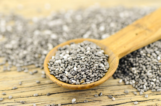 Chia seeds (salvia hispanica). Chia seeds benefits include promoting healthy skin, reducing signs of aging, supporting the heart and digestive system.
